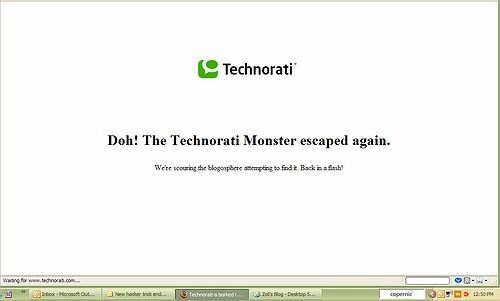 Doh! The Technorati Monster escaped again.